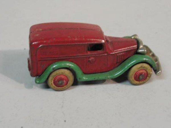 410: CAST IRON TOY VAN. Delivery type van with original