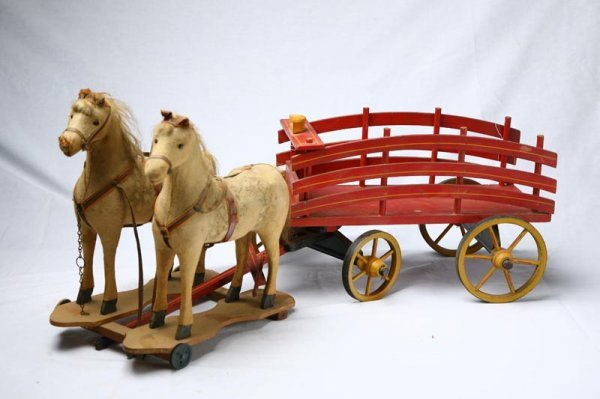 418: HORSE PULL TOY WITH WAGON. Double team of horses w