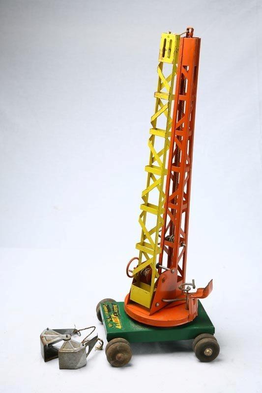 420: BUDDY L TOY CONSTRUCTION CRANE. Orange, green and