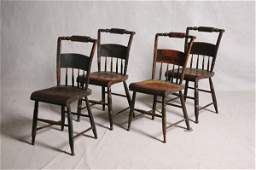 695 FOUR COUNTRY SIDE CHAIRS Grain paint decorated ha