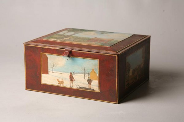 16: DECORATED TIN BOX BY HUDNALL.
