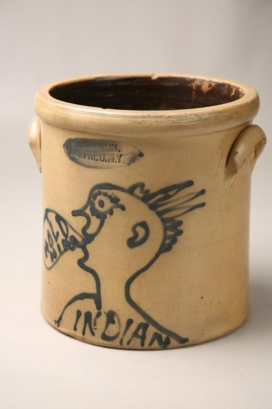 794: STONEWARE CROCK WITH INDIAN.
