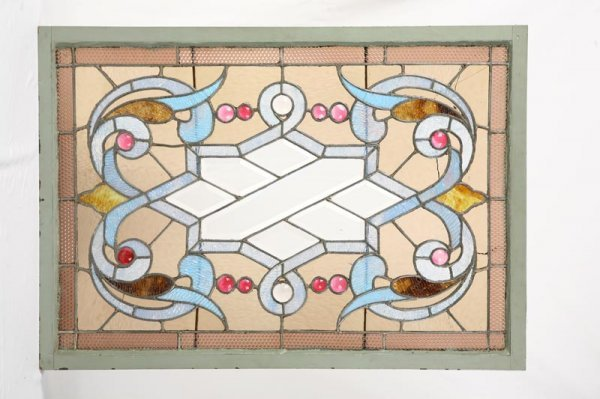 1001A: STAINED GLASS WINDOW. Scrolled design with bevel