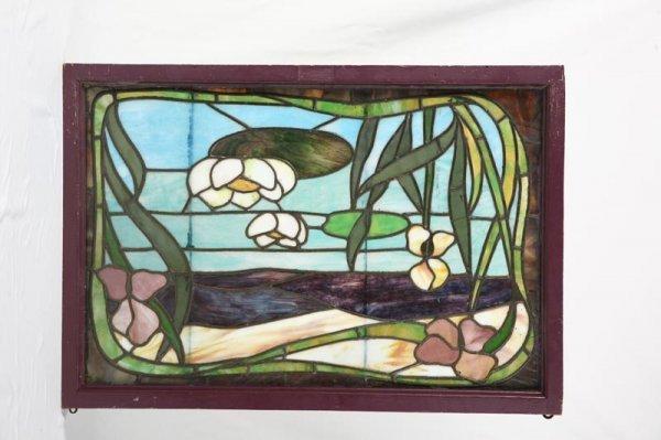 1001B: STAINED GLASS WINDOW. Art Nouveau window with wa