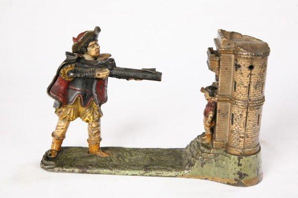 1003: WILLIAM TELL MECHANICAL BANK. Cast iron bank depi