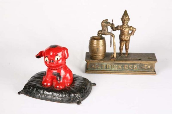 1007: TWO BANKS. Brass Trick Dog with patent date July