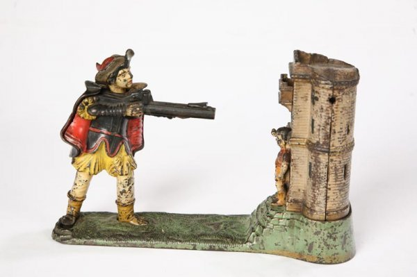 1009: WILLIAM TELL BANK. Cast iron mechanical bank. N#
