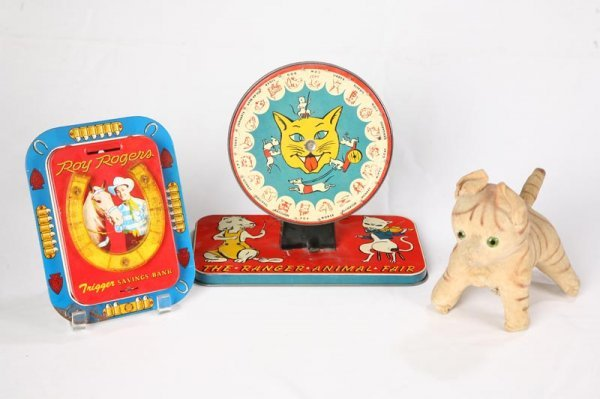 1011: THREE VINTAGE TOYS. Stuffed cat with brown stripe