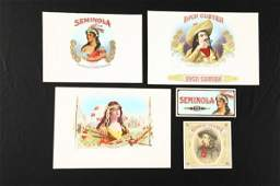 1340 FIVE VINTAGE INDIAN AND COWBOY CIGAR LABELS Two