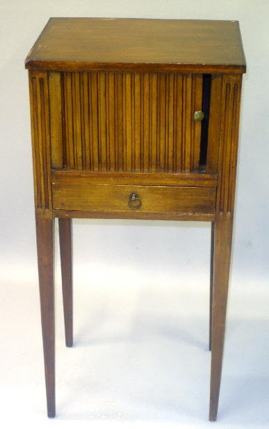 6: SMALL EUROPEAN STAND WITH TAMBOUR FRONT. Walnut with