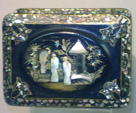 11: INLAID BOX. Oriental jewelry box painted black and
