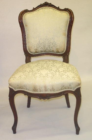 16: SMALL LOUIS XV STYLE SIDE CHAIR. Walnut with an old