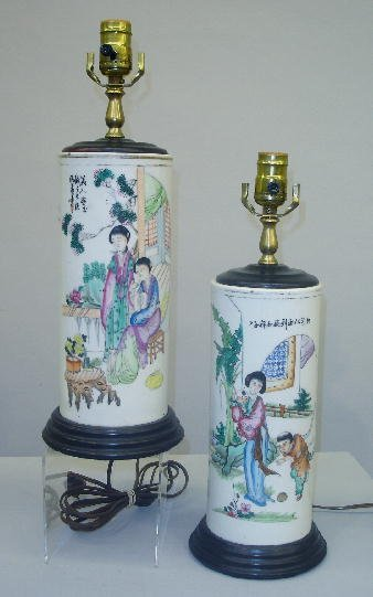 20: PAIR OF ORIENTAL PORCELAIN CYLINDER VASE LAMPS. Bot