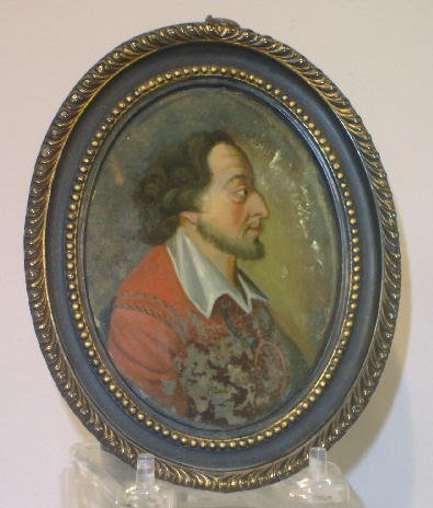 21: REVERSE PAINTING ON GLASS. Oval portrait of a beard