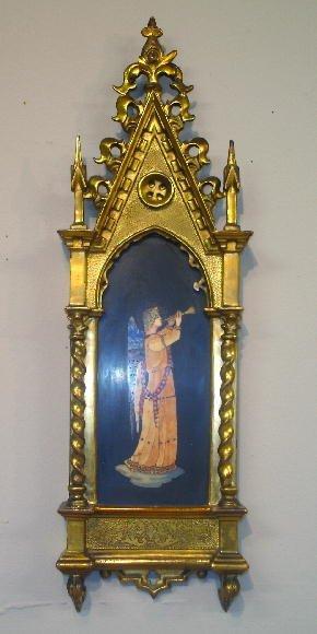 55: PIETRA DURA PLAQUE. Inlaid angel on black slate. Go