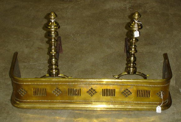 187: PAIR OF SMALL BRASS ANDIRONS AND A FENDER. Andiron
