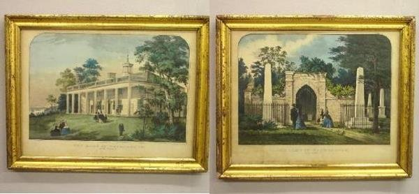 """421: TWO CURRIER AND IVES HANDCOLORED LITHOGRAPHS. """"The"""