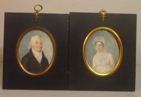 434: PAIR OF MINIATURES ON IVORY. Husband and wife iden
