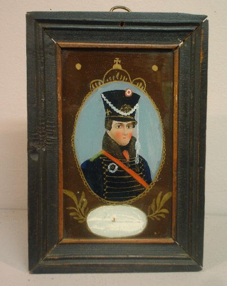 436: REVERSE GLASS PAINTING. Militia soldier wearing a