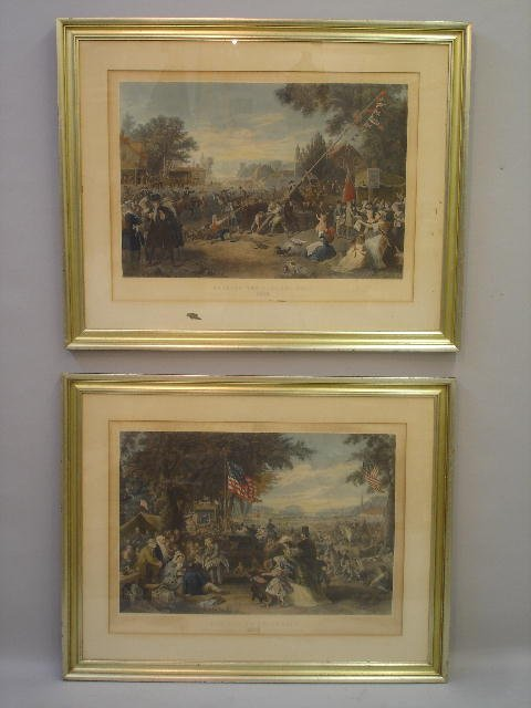 443: TWO HANDCOLORED ENGRAVINGS. Large folio prints aft
