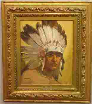 """OIL PAINTING BY """"ARMSTRONG"""". Depiction on canvas o"""
