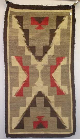 """EARLY NAVAJO RUG. Graphic """"X"""" stepped terrace desi"""