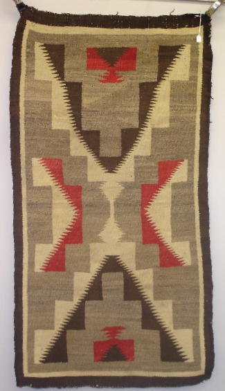 """838: EARLY NAVAJO RUG. Graphic """"X"""" stepped terrace desi"""