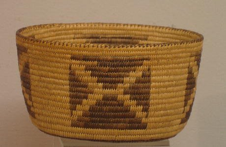 845: PIMA OVAL BOWL SHAPED BASKET. Finely and evenly wo