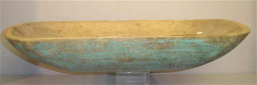 1039: WOODEN TRENCHER. Hand hewn with original, worn aq