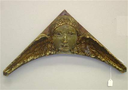 1115: REDWARE ARCHITECTURAL ORNAMENT. Molded angel face
