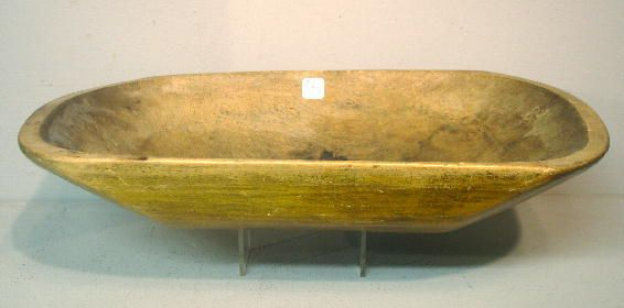 WOODEN TRENCHER. Hand hewn with later yellow pain