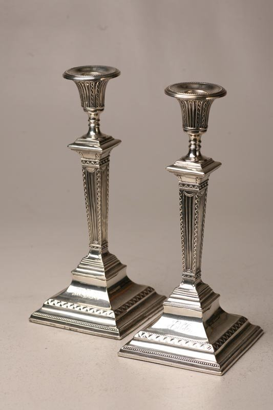 11: PAIR OF ENGLISH SILVER CANDLESTICKS.