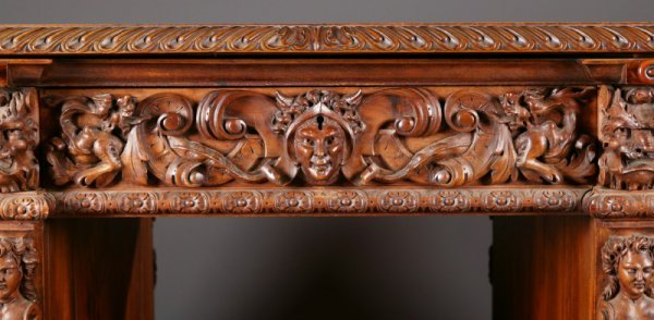 402: ORNATELY CARVED ROCOCO-STYLE DESK. - 2