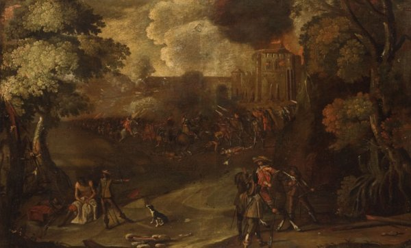 407: PAINTING OF A EUROPEAN BATTLE (18TH OR 19TH CENTUR