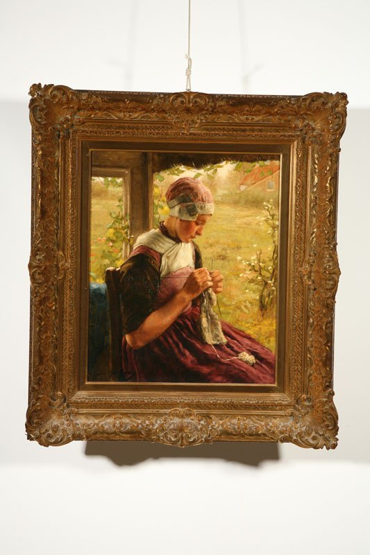 803: YOUNG WOMAN KNITTING BY HENDRIKHEYLIGERS (DUTCH, 1