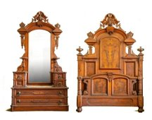HIGH STYLE VICTORIAN BED AND DRESSER.