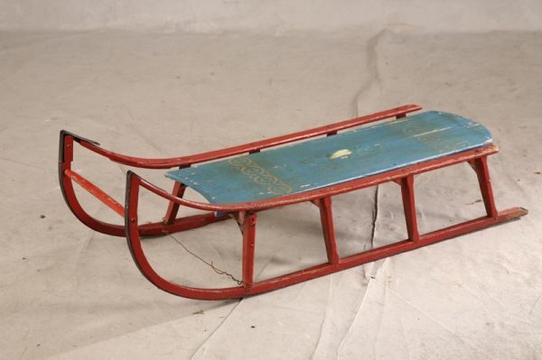1011: PAINTED CHILDS SLED. All wood with old painted re