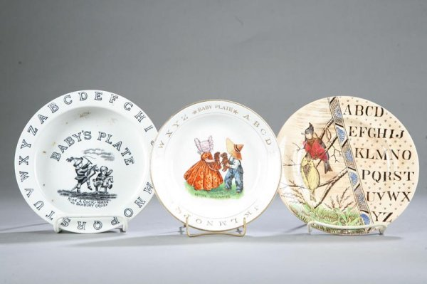 1013: THREE ABC PLATES. Plate with birds on one side an