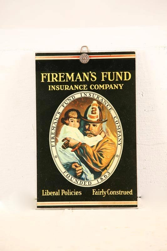 1282: INSURANCE TRADE SIGN. Fireman's Fund Insurance Co
