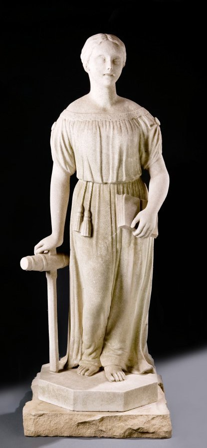 2411:  STONE SCULPTURE OF A YOUNG WOMAN (AMERICAN, MID