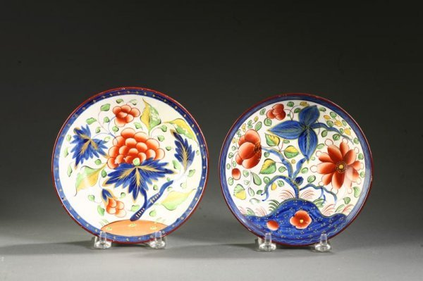 2421:  TWO GAUDY DUTCH SAUCERS.    English, early 19th