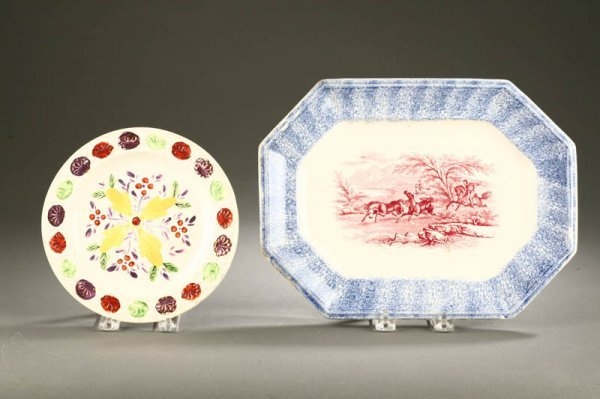 2425:  TWO PIECES: LUSTER PLATE AND SPATTER TRAY.    En