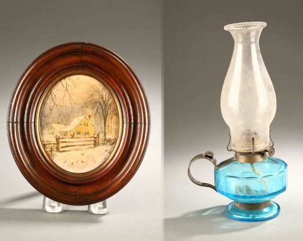 2426:  TWO PIECES: FARM PAINTING AND OIL LAMP.    Ameri