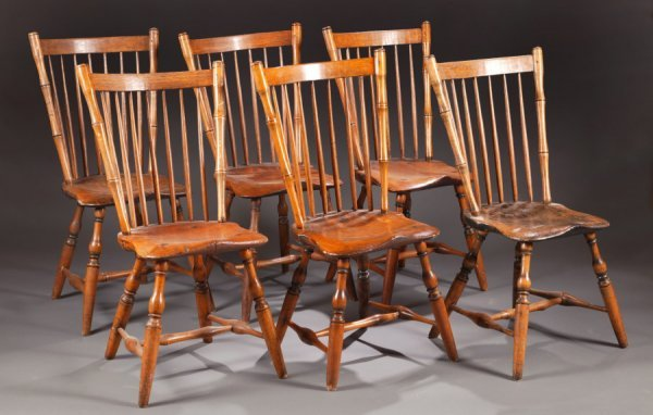 2429:  SET OF SIX BAMBOO WINDSOR SIDE CHAIRS.    Attrib