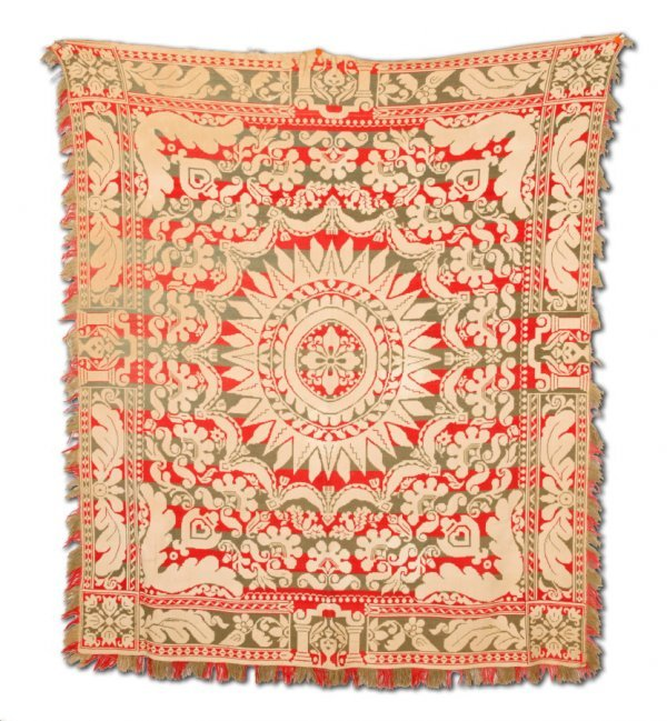 2430:  JACQUARD COVERLET.    Unknown weaver, American,
