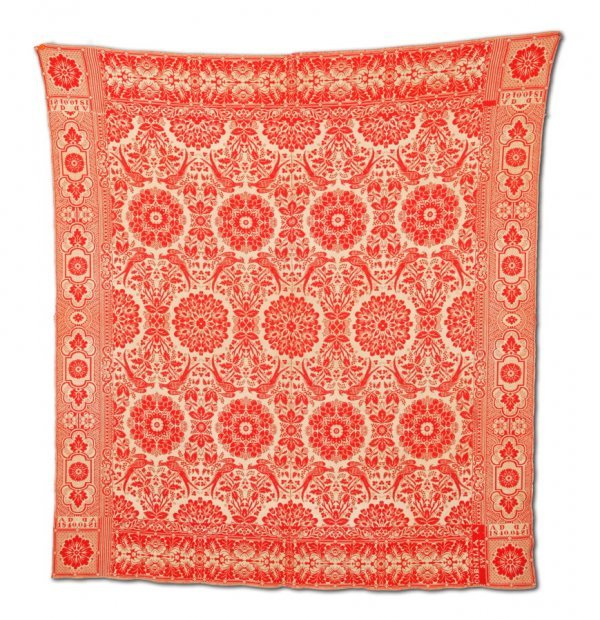 2431:  JACQUARD COVERLET.    Unknown weaver, American,
