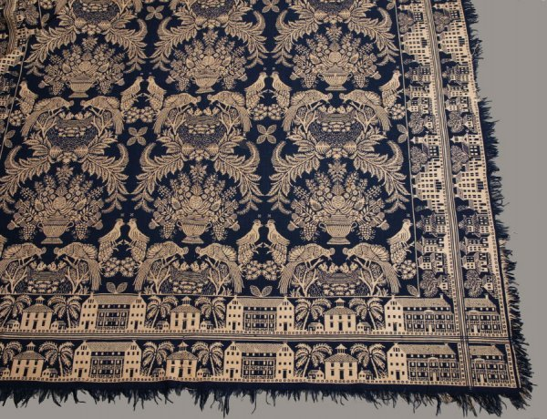 2433:  JACQUARD COVERLET.    Unknown weaver, probably I