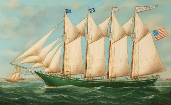 2434:  PAINTING OF THE SCHOONER  JESSIE BOUNDS    BY RE