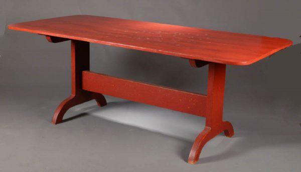 Painted Trestle Table David T Smith, David Smith Furniture Morrow Ohio