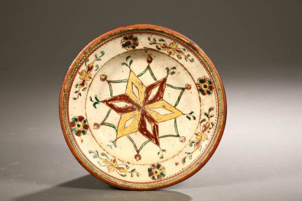 2008:  REDWARE PLATE.    American, possibly Pennsylvani